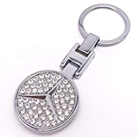 Key Chain Ring Chrome Metal Family Present Gifts For Car 3D Metal Emblem Pendant Double Side Zircon Crystal Decoration Lanyard Keychains Accessories (for Mercedes)