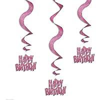 Pink Glitz Swirl Decorations - Pack of 6
