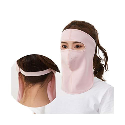 LENOSS New Sommer Seide Baumwolle All-Inclusive große Gesichtsmaske Hals große Lätzchen Sonnenschutz Staubbeutel Maske Männer und Frauen (apricot) -