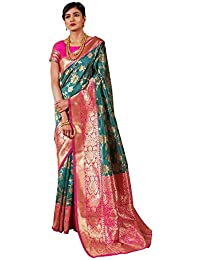 SAREE MALL Women's Silk Blend Saree with Unstitched Blouse Piece (Turquoise_KRVNA82001)