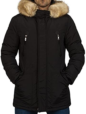 Gefütterte Herren Winterjacke mit Kunst Fell Kapuze Coat der Marke Young & Rich Jacke Parka Mantel in den Größen S M L XL XXL, Farbe:Schwarz;Größe:L