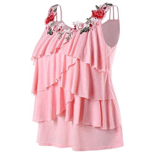 op Sommer Blumen Stitching Locker Lässiges Sexy Ärmelloses Shirt Oberteil Damen Bluse ärmellos Tunika mit Rundhals Blusenshirt Plus Size (Plus Size Weihnachts Outfits)