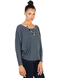 KRISP Damen Shirt mit Halskette Fledermausärmel Kimono Top