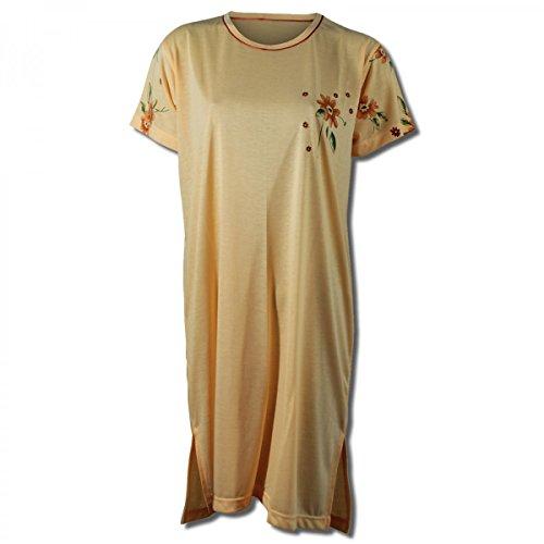 Lavazio Chemise de nuit pour femme à manches courtes à motif fleuri Abricot