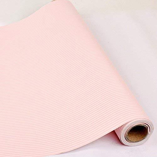 HOYOYO 43,2x 198,1cm Selbstklebend Regal Liner, Feuchtigkeit Proof Kommode Schublade Papier Regal Schimmelfest Antifouling Kontakt Papier, Rosa Weiß Streifen - Kommode Für Liner Papier Schublade