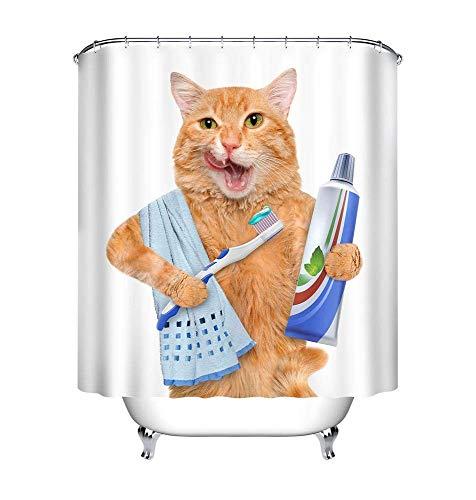 LB Katzen Duschvorhang mit Haken, Tier Zahnpasta Zahnbürste Handtuch Weißer Hintergrund Badevorhänge 150x180 cm, Anti-Schimmel Wasserdicht Polyester Stoff (Hintergrund Duschvorhang)
