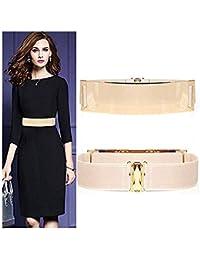 Famhome Vintage correa cinturón elástico Cintura elástica correa fajín hoja diseño cierre ...