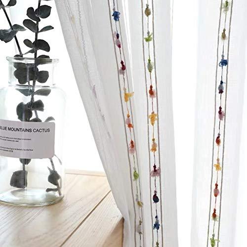 HM&DX Jacquard Faux Leinen Transparent Voile Gardinen ösen Kleine Kugeln Dekorationen Gestreift Fenster Vorhang Tüll-vorhänge -weiß 200x280cm(79x110inch)