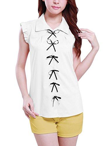 Allegra K femme simple épaisseur au niveau de la poitrine, nœud en dentelle transparente Panneau arrière Chemise d'été Blanc - Blanc