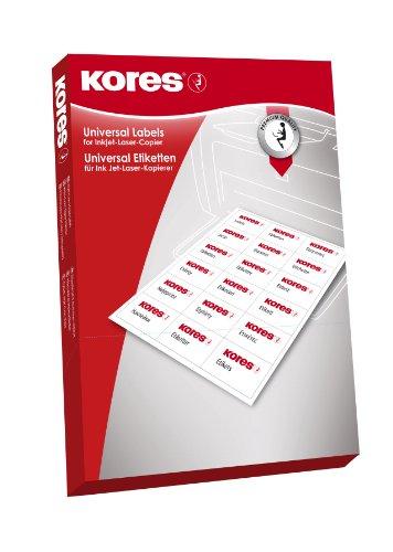 Kores Universal-Etiketten, 38.1 x 21.2 mm, 100 Blatt, weiß