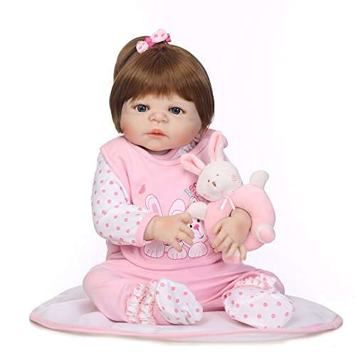 GHCX Silikon-Simulation Reborn Puppe Süße Kindheit Kann Das Wasser Spielen mit Baby Kreative Geschenk 57CM