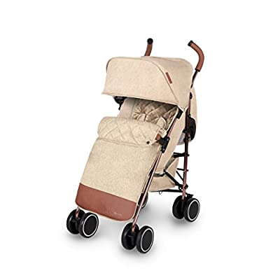 Ickle Bubba Baby Strollers | Lightweight Stroller Pushchair | Compact Fold Technology for Easy Transport and Storage | UPF 50+ Extendable Hood, Footmuff and Rain Cover | Discovery Max, Sand/Rose Gold