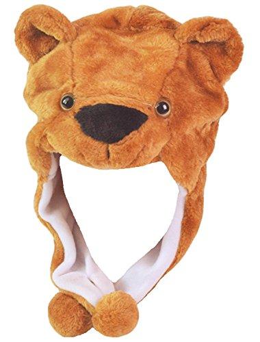 Honeystore Hut Tiermütze Wintermütze Plüschmütze Kopfbedeckungen Mützen Hüte Karneval Cosplay Spielzeug Verkleiden Bär