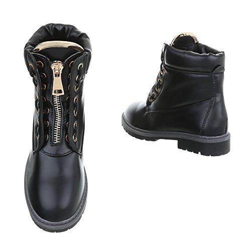 Scarpe da donna Stivali tacco a blocco Stivaletti con Laccio Ital-Design nero A-16-2