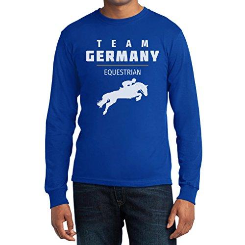 Pferde Springreiten Team Germany - Olympischer Fanartikel Langarm T-Shirt Blau
