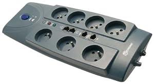 Metronic Multiprise x7 parafoudre : RJ45 + protection téléphone, fax et modem parasurtenseur + câble 1,50m