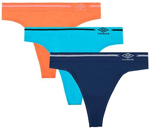 Seamless Hi-cut-panty (Umbro Damen Tanga Seamless Panty 3Pack–verschiedene Farben Small Nasturium/Blue)
