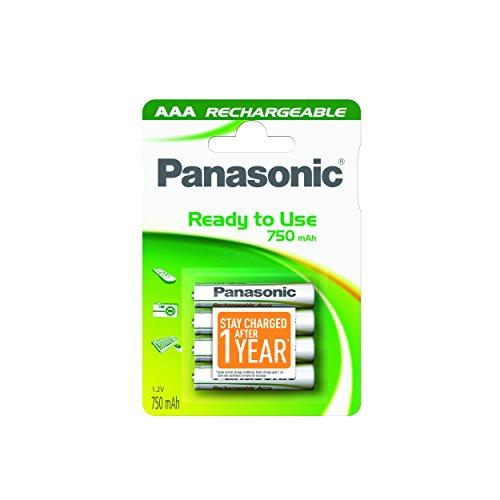 Panasonic AAA 750mAh NiMH 4-BL Batería/Pila recargable (750 mAh, 1.2 V, 44.5 mm, 10.5 mm, 13 g), Color blanco