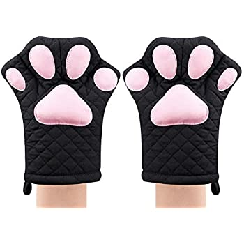 2edb9f6dc Oven Mitts,Cute Design Funny Cat Heat Resistant Cooking Glove Quilted  Cotton Lining- Heat