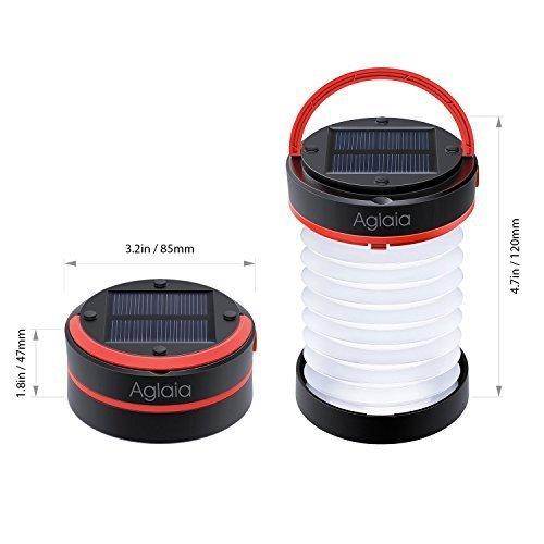 Linterna de camping Aglaia LED,  lámpara de camping recargable con energía solar y USB con botella de silicona plegable,  3 modos de iluminación e IPX6,  para excursionismo,  pesca,  excursión con mochila