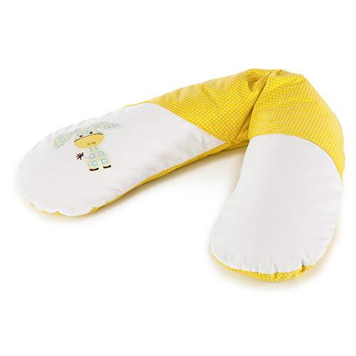 Stillkissen zweifarbig weiß-gelb mit Eselapllikation