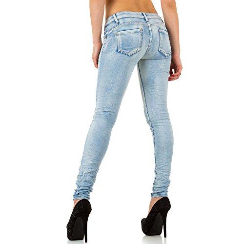 Damen Jeans Hose Used Look Hüfthose Jeanshose Hüftjeans Röhrenhose Skinny Slim Fit Blau Blau / Nr. 1
