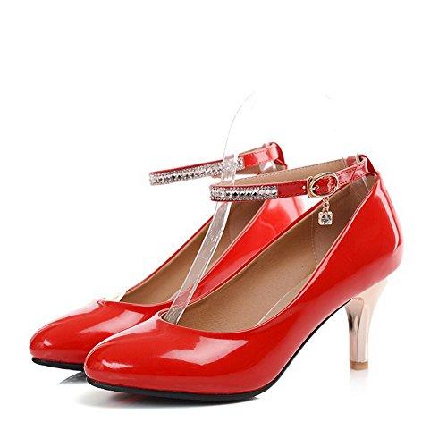 VogueZone009 Femme Boucle Rond à Talon Haut Pu Cuir Couleur Unie Chaussures Légeres Rouge