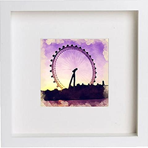 London | The London Eye 2 encadrée illustrations/images/photos/cadre souvenirs | Cadeau unique 25 x 25 cm