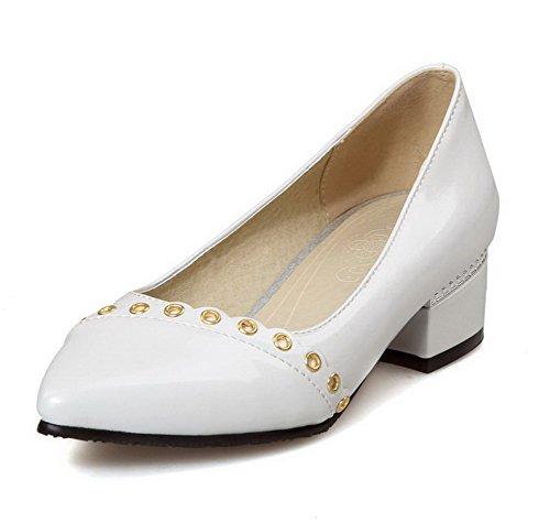 AllhqFashion Femme Mosaïque Pu Cuir à Talon Bas Pointu Tire Chaussures Légeres Blanc