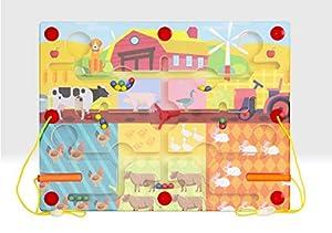 Beehive Toys BHT434 Laberinto magnético Premium de Madera Juguete de Aprendizaje con Animales de Granja, Multi
