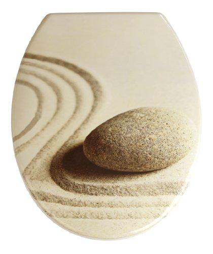 WENKO 19651100 WC-Sitz Sand and Stone Toilettensitz, rostfreie Edelstahlbefestigung, 37,5 x 45 cm, mehrfarbig