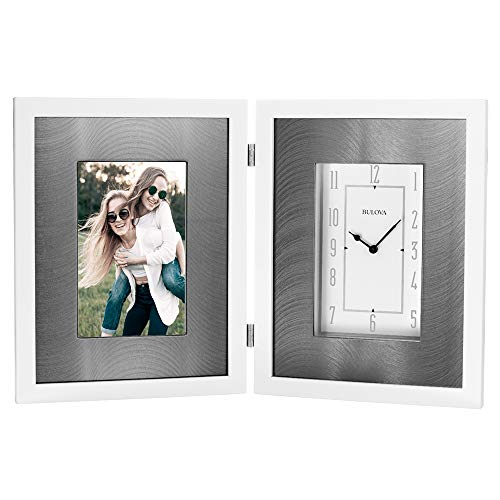 Bulova B1243 Dedication - Reloj con Marco para Fotos, Color Blanco Brillante