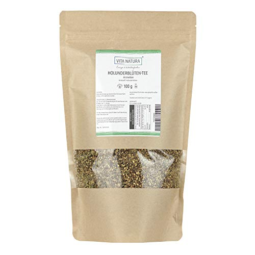 Vita Natura Holunderblüten Tee, loser Arzneitee, Bio, 1er Pack (1 x 100 g)