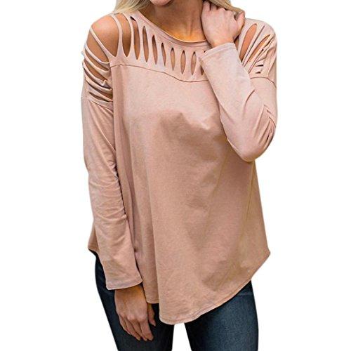 Longra Damen Langarmshirts Schulterfreie Oberteile Oversize-Shirts Loch Trim Bluse Einfarbig Rundhalsshirts Tunika T-Shirt Basictop Shirttop Damenmode Damenkleider (Pink, S) (Trim Messenger)