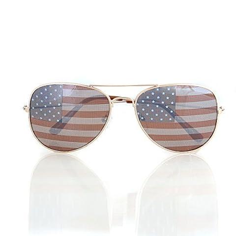American USA Drapeau Aviator Lunettes de soleil patriotique des États-Unis étoiles Rayures Doré