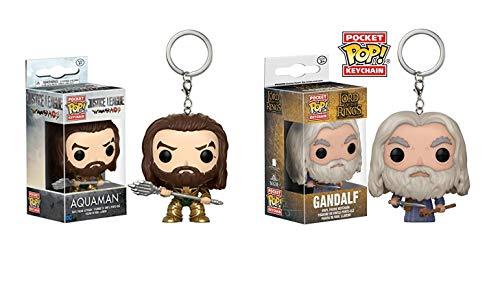 2er Sparset,kompatibel zu Funko POP! Keychain: Justice League - Aquaman + Gandalf Herr der Ringe/Hobbit