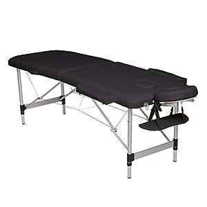 dibea MT00572, 2-Zonen Massagebank, Aluminiumgestell, höhenverstellbar, schwarz