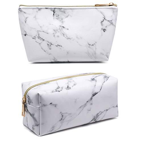Whaline 2pezzi marmo trucco cosmetici borsa porta spazzolino da viaggio con custodia portatile da toilette sacchetto oro portamonete con cerniera per donne e ragazze