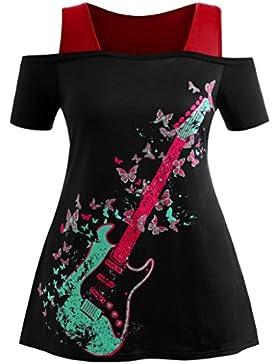 Lenfesh Blusa con Cuello EN V Manga Corta con Estampado de Mariposa Para Mujer,Blusas Camiseta Tallas Grandes...