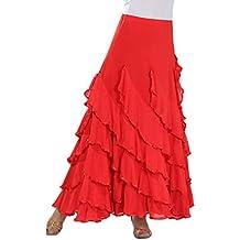 Tookang Traje de Baile Moderno Falda de Baile Flamenco de Mujer Vestido Baile Latino Salsa Flamenco