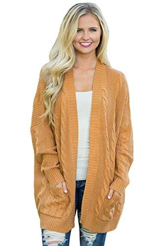 Aleumdr Damen Strickjacke Sweatshirt Strick Cardigan Winter Herbst Knopfleiste V-Ausschnitt Strickmantel mit Taschen XL