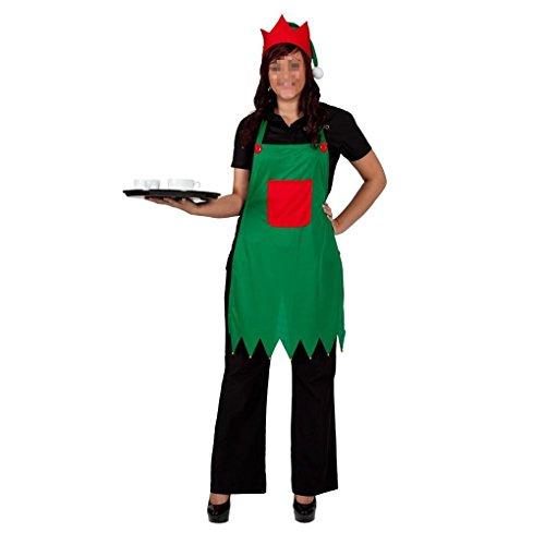 Xinnegen Schürze Set, Frauen Schürze Mütze Set Erwachsene Elf Kostüm für Weihnachtsfeier Outfit ()