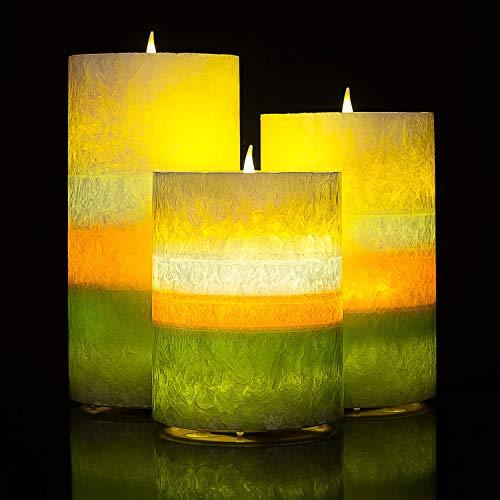 3 Kerze Wandleuchte (Homemory batteriebetriebene flammenlose Kerze mit Timer, 3er Set Tropfen LED Votivkerze, elektrische Kerze mit flackernder Flamme für Geschenk, Spa, Badezimmer, Tisch, Wandleuchte(Color Circle))