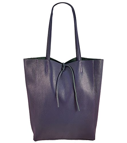 Damen Echtleder Shopper mit Innentasche in vielen Farben Schultertasche Henkeltasche Metallic look (Lila) (Lila Shopper)