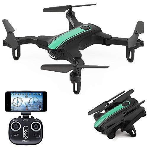 Drone mit Kamera 720P HD für Kinder Jungen Geschenke, Faltbare FPV RC Quadcopter für Erwachsene Anfänger Männer, WiFi APP, APK Live Video Flugzeughöhen Hover RC Flugzeug,Green200WPixel