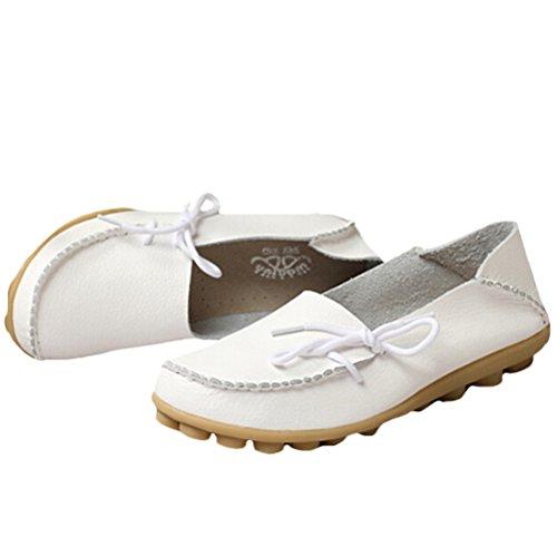 Vogstyle Damen Casual Slipper Flatschuhe Low-top Schuhe Erbsenschuhe Weiß-Art 1
