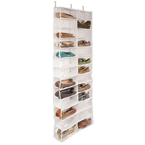lalilei 26Taschen Aufhängen Schuh Aufbewahrung Taschen/Schrank/Boxen, über der Tür Rack, Kleiderschrank, Toys Aufbewahrungstasche mit Haken weiß (Schrank Schuh-boxen)