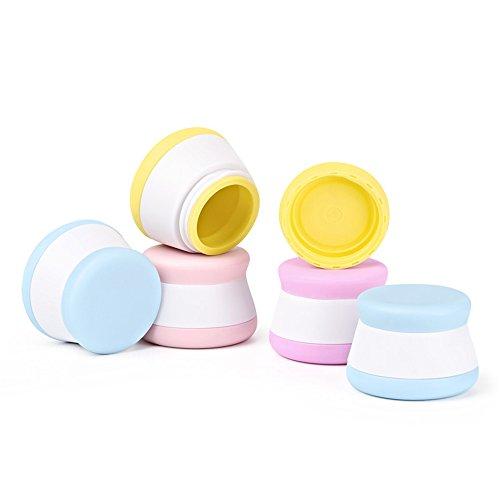 Holzsammlung 4 Pezzi Vaso da Crema di Silicone da 20 ml Portatile Contenitori Cosmetici da Viaggio Vasetti Barattolo Set con Coperchio - per Shampoo, Condizionatore, Lozione, Prodotti da Toeletta #6