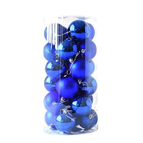 Gaddrt 24pcs Glänzender und polierter glatter Weihnachtsbaum-Ball verziert Dekorationen 2.4 '' (Blau)