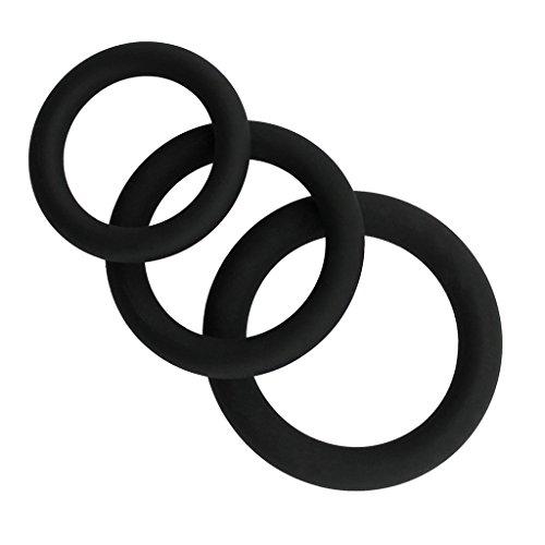 Qiman Silikon-männliche Verbesserungs-Übungsband-O-Ring 3 verschiedene Größen-flexible Ringe (schwarz)